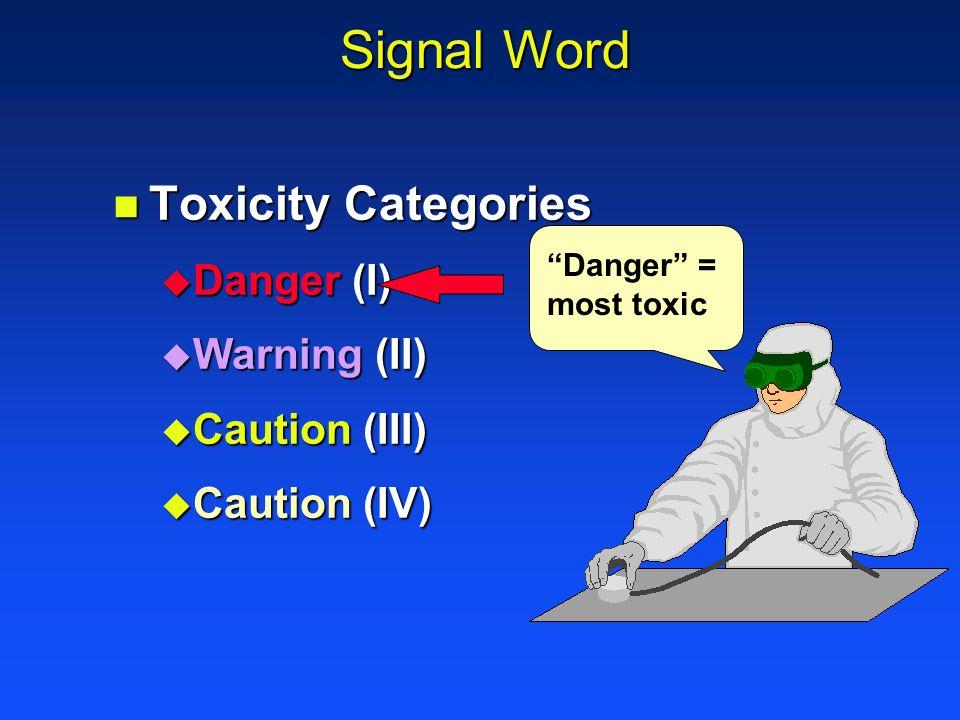 Signal Word n Toxicity Categories u Danger (I) u Warning (II) u Caution (III) u Caution (IV) Danger = most toxic