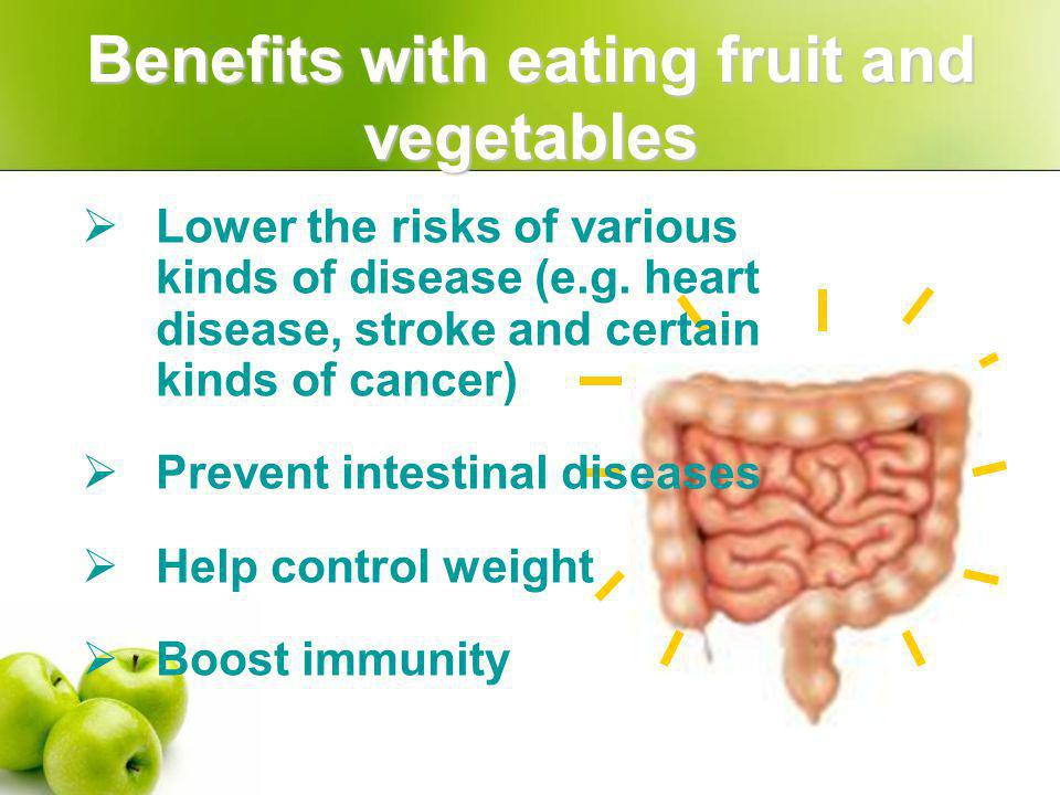 Nutrients in fruit and vegetables… Vitamin C Strengthen muscles, blood vessels, skin and bones Prevent scurvy Help relieve pressure Raise the absorption of iron Antioxidating