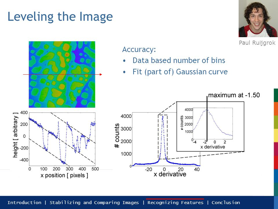 Introduction | Stabilizing and Comparing Images | Recognizing Features | Conclusion Leveling the Image Accuracy: Data based number of bins Fit (part of) Gaussian curve Paul Ruijgrok