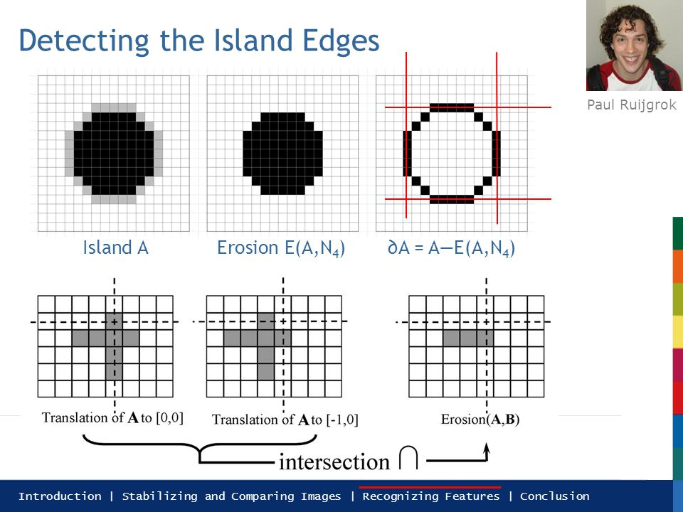 Introduction | Stabilizing and Comparing Images | Recognizing Features | Conclusion Detecting the Island Edges Paul Ruijgrok erosion Island AErosion E(A,N 4 )A = AE(A,N 4 )
