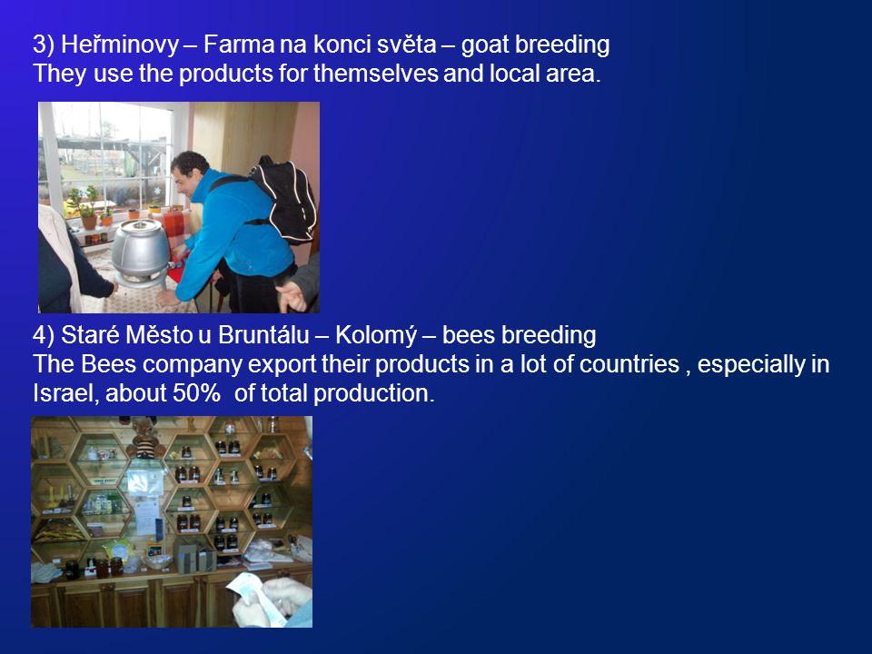 3) Heřminovy – Farma na konci světa – goat breeding They use the products for themselves and local area. 4) Staré Město u Bruntálu – Kolomý – bees bre