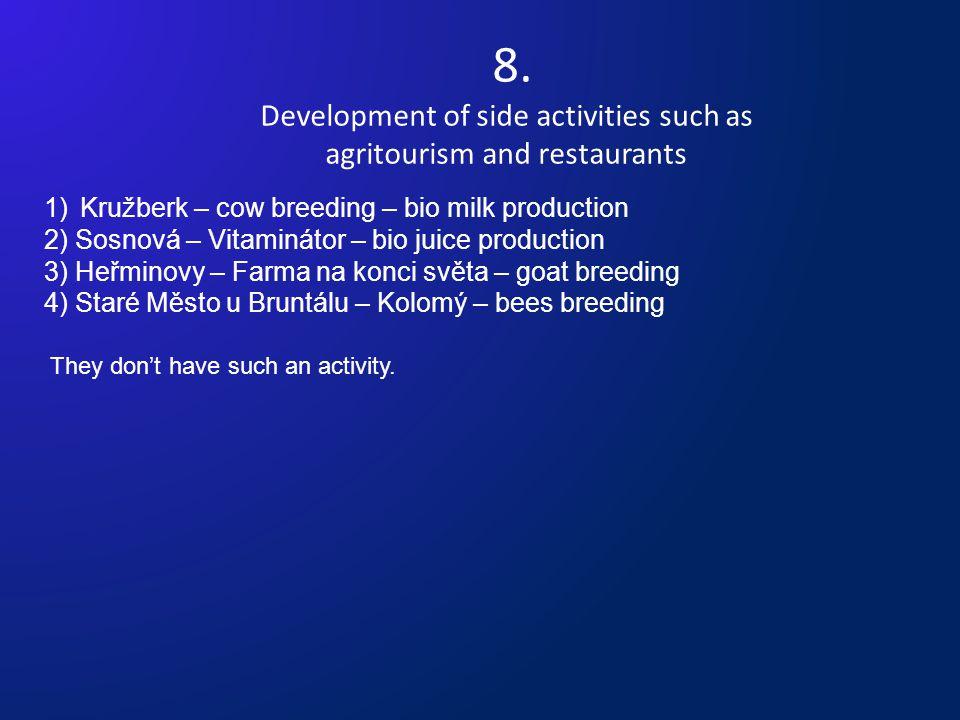 8. Development of side activities such as agritourism and restaurants 1)Kružberk – cow breeding – bio milk production 2) Sosnová – Vitaminátor – bio j