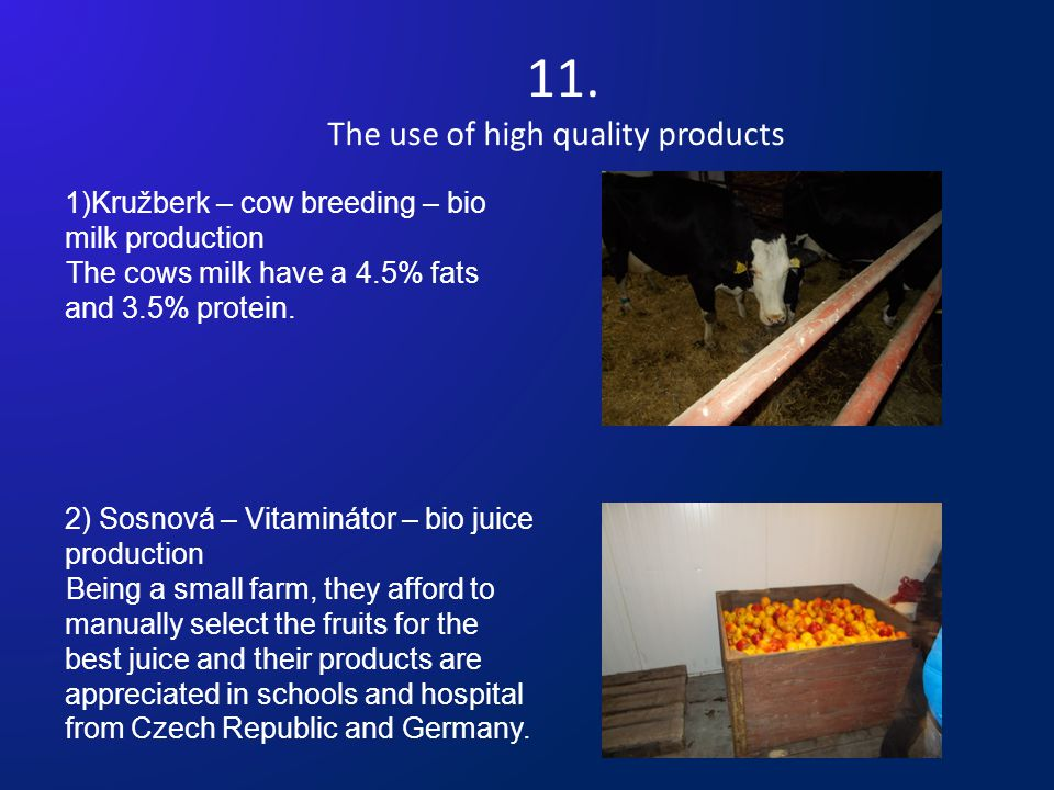 11. The use of high quality products 1)Kružberk – cow breeding – bio milk production The cows milk have a 4.5% fats and 3.5% protein. 2) Sosnová – Vit