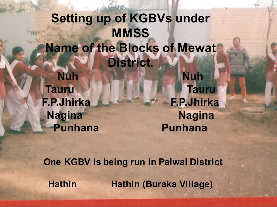 Setting up of KGBVs under MMSS Name of the Blocks of Mewat District. Nuh Tauru F.P.Jhirka Nagina Punhana One KGBV is being run in Palwal District Hath