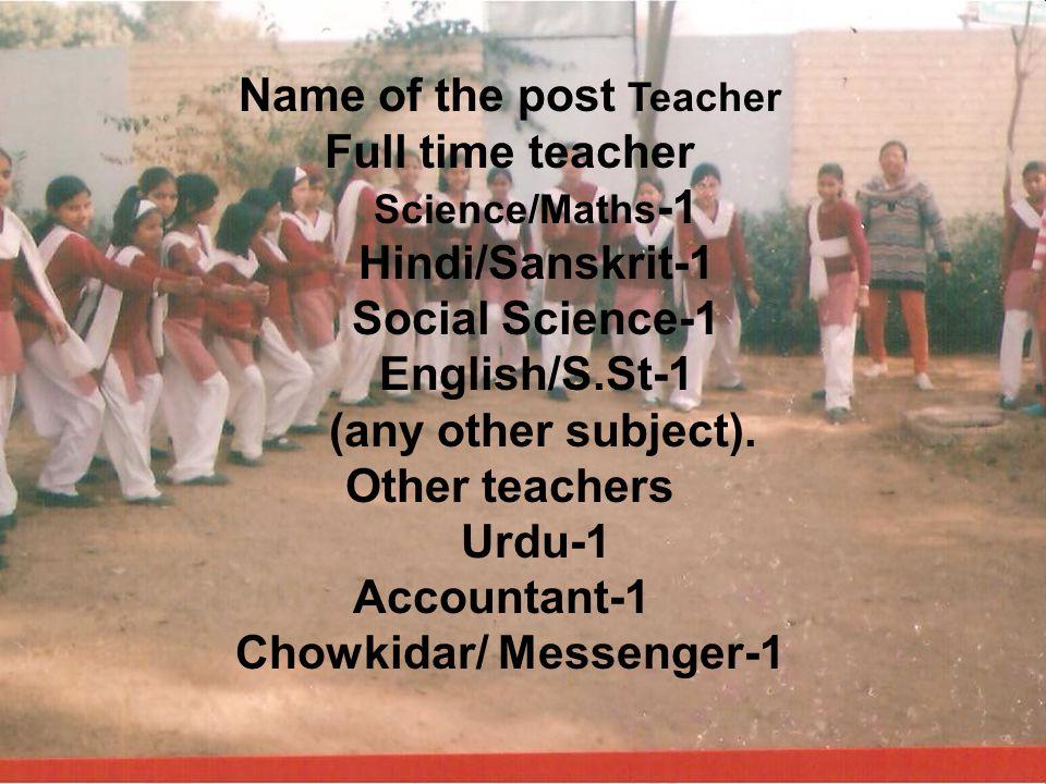 Name of the post Teacher Full time teacher Science/Maths -1 Hindi/Sanskrit-1 Social Science-1 English/S.St-1 (any other subject).