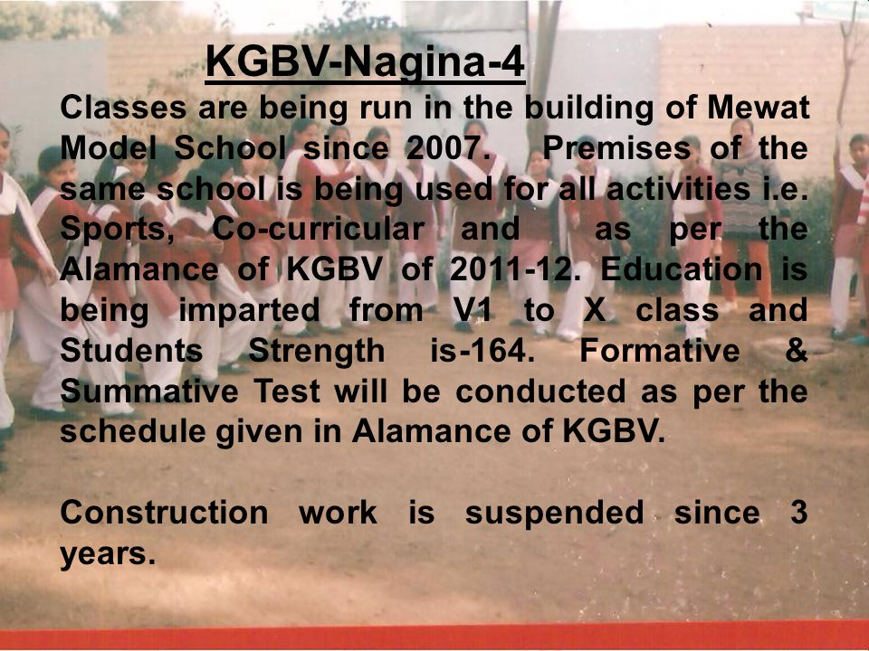 KGBV-Nagina-4 Classes are being run in the building of Mewat Model School since 2007. Premises of the same school is being used for all activities i.e