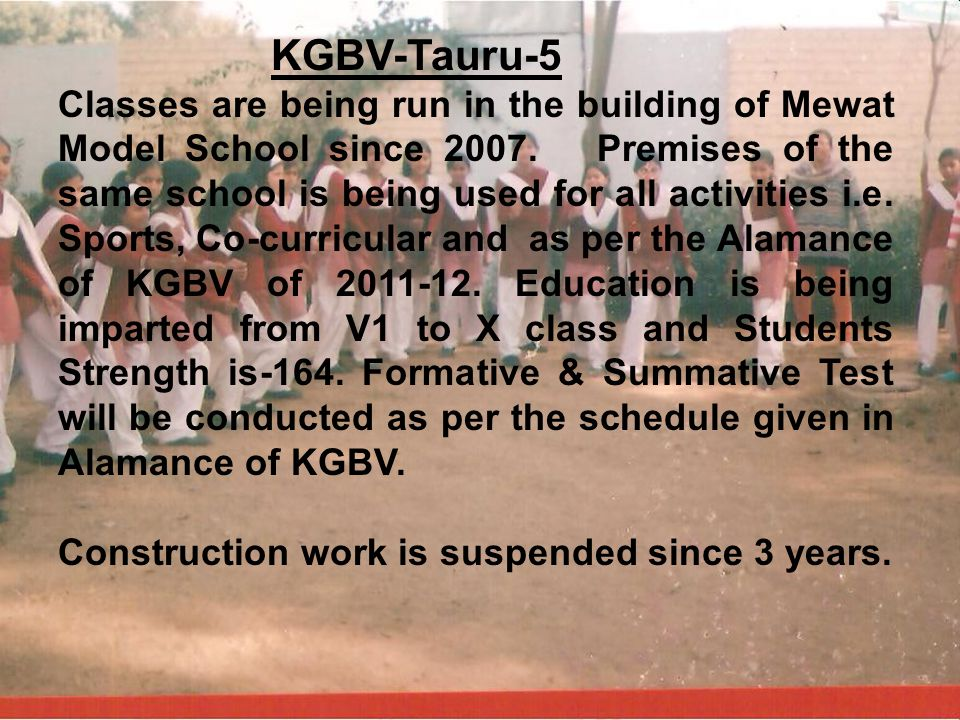KGBV-Tauru-5 Classes are being run in the building of Mewat Model School since 2007. Premises of the same school is being used for all activities i.e.