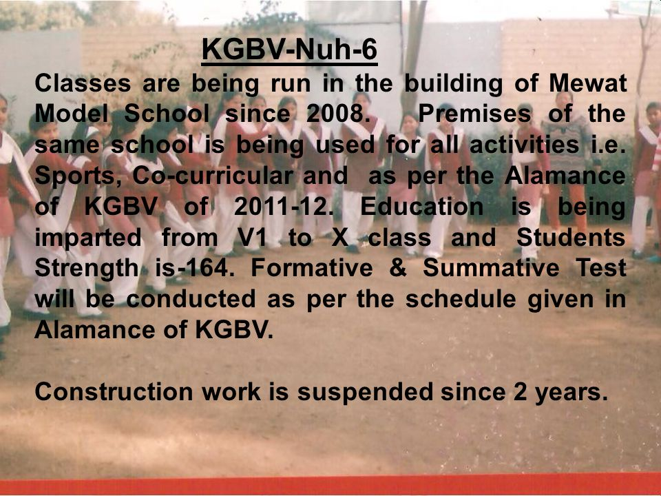 KGBV-Nuh-6 Classes are being run in the building of Mewat Model School since 2008. Premises of the same school is being used for all activities i.e. S