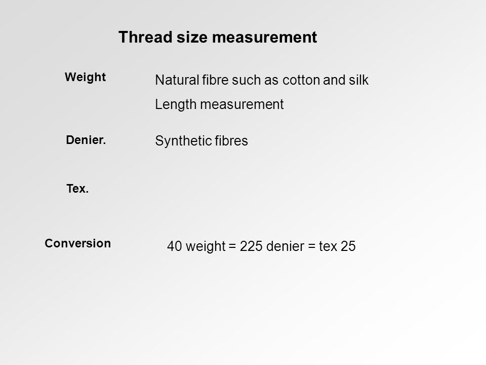 Thread size measurement Weight Denier.Tex.
