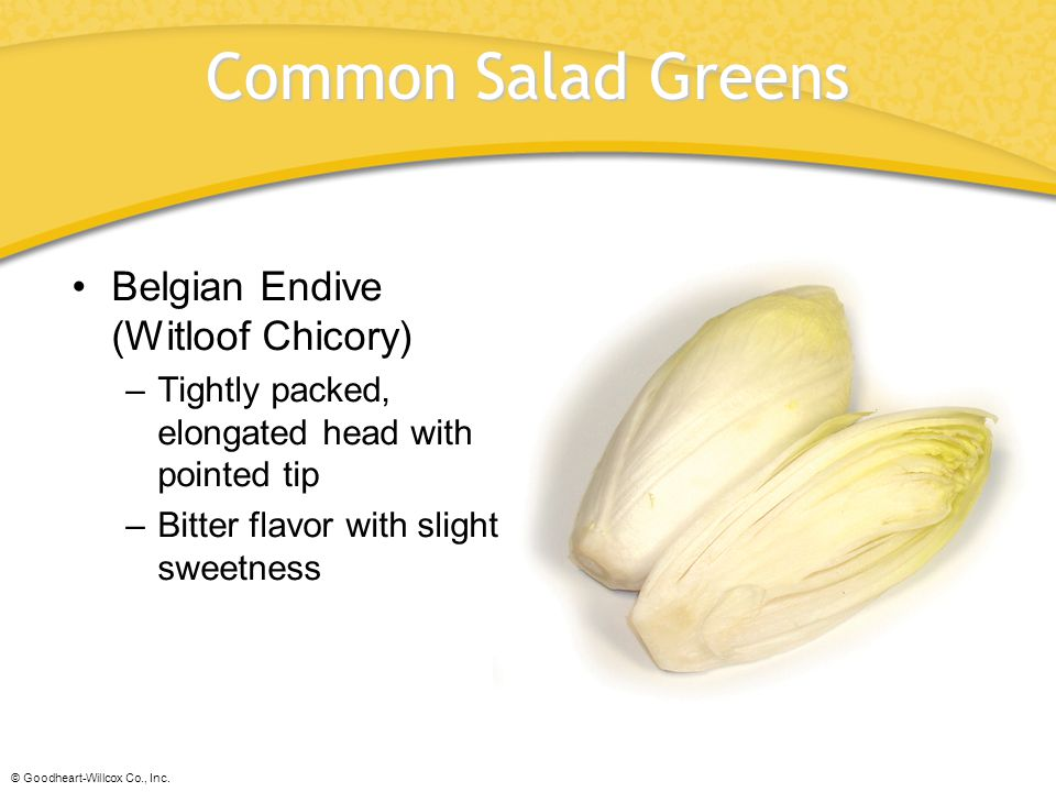 © Goodheart-Willcox Co., Inc. Common Salad Greens Belgian Endive (Witloof Chicory) –Tightly packed, elongated head with pointed tip –Bitter flavor wit