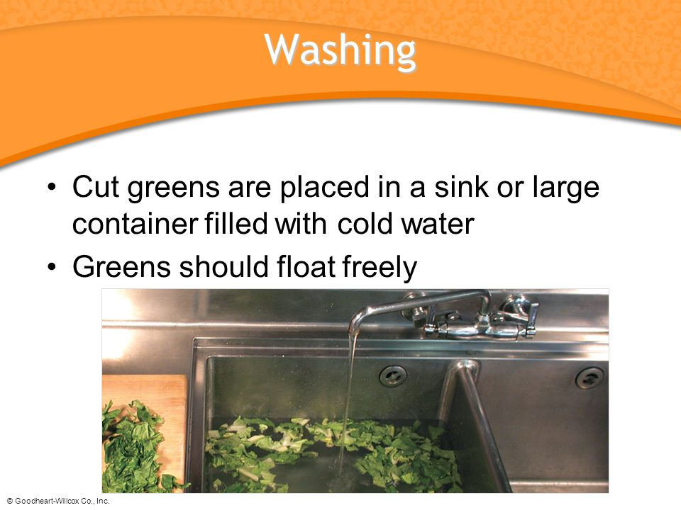 © Goodheart-Willcox Co., Inc. Washing Cut greens are placed in a sink or large container filled with cold water Greens should float freely