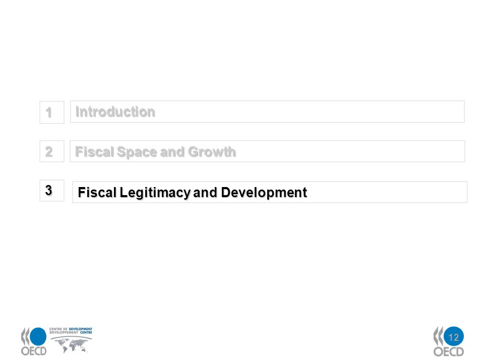 12 Introduction 1 Fiscal Space and Growth 2 Fiscal Legitimacy and Development 3