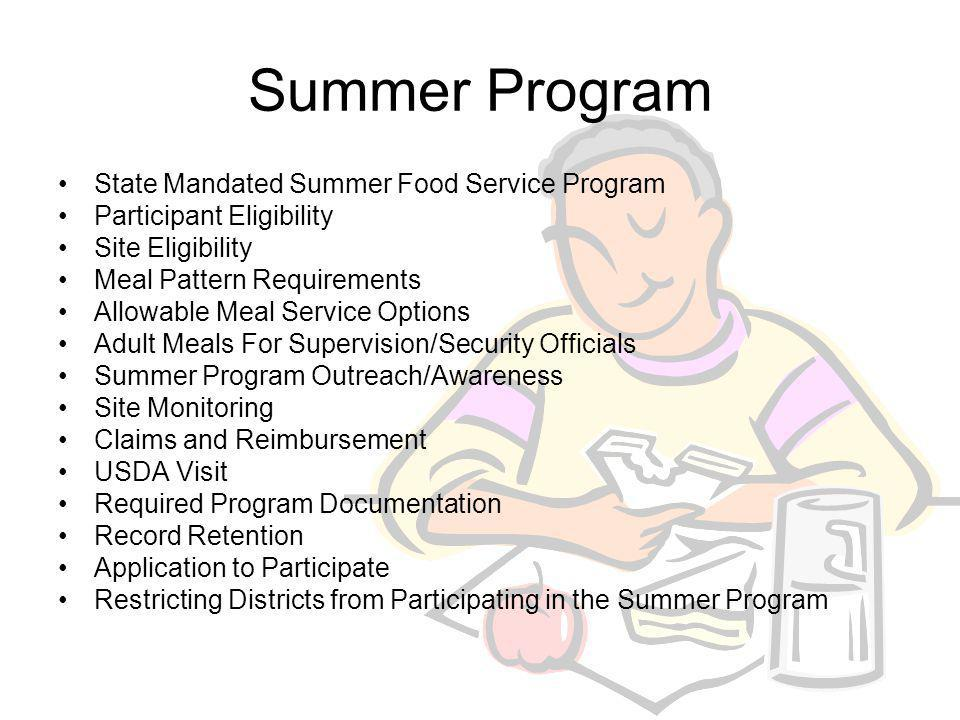 Summer Program A seamless Summer Food Service Program (SFSP) is administered by TEA- CNP and is not structured like the traditional SPSP operated by the Texas Department of Human Services (TDHS).