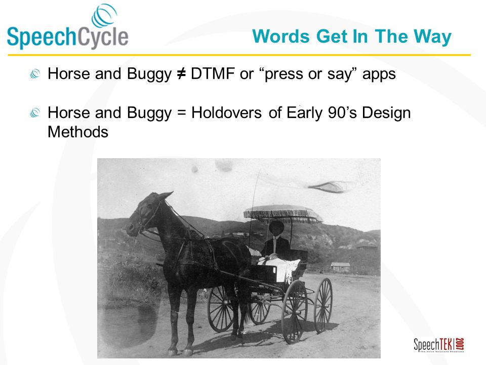Confidential Words Get In The Way Horse and Buggy DTMF or press or say apps Horse and Buggy = Holdovers of Early 90s Design Methods