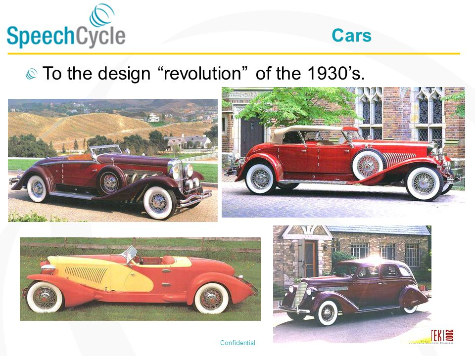 Confidential Cars To the design revolution of the 1930s.