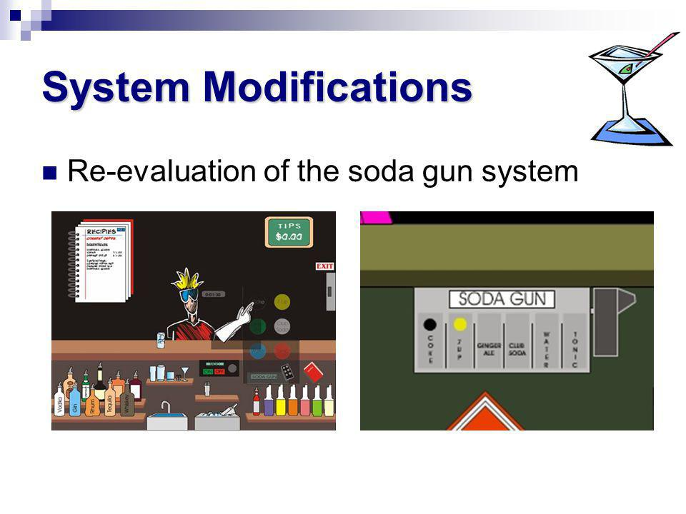 System Modifications Re-evaluation of the soda gun system