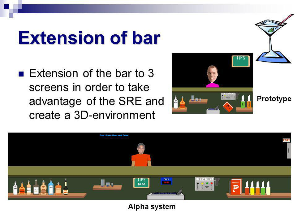 Extension of bar Extension of the bar to 3 screens in order to take advantage of the SRE and create a 3D-environment Prototype Alpha system