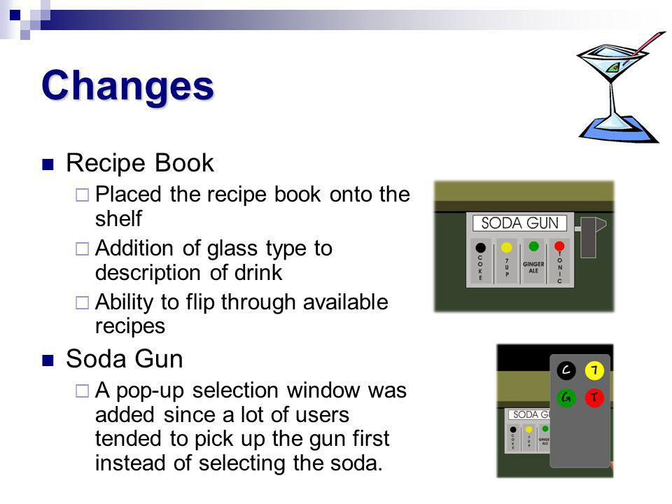 Changes Recipe Book Placed the recipe book onto the shelf Addition of glass type to description of drink Ability to flip through available recipes Soda Gun A pop-up selection window was added since a lot of users tended to pick up the gun first instead of selecting the soda.