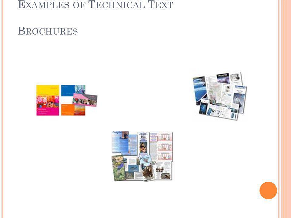 E XAMPLES OF T ECHNICAL T EXT B ROCHURES