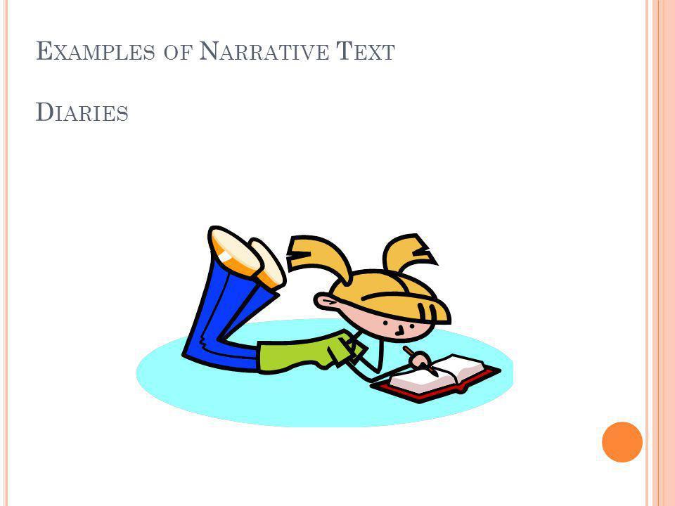 E XAMPLES OF N ARRATIVE T EXT D IARIES