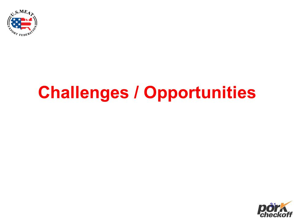31 Challenges / Opportunities