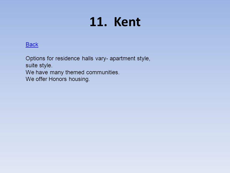 11.Kent Back Options for residence halls vary- apartment style, suite style.