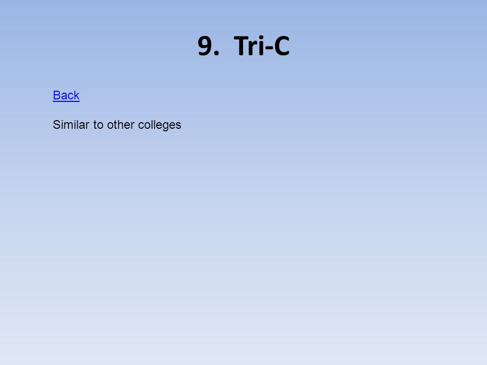 9. Tri-C Back Similar to other colleges
