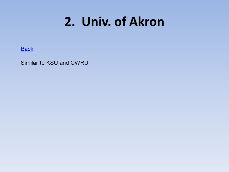 2. Univ. of Akron Back Similar to KSU and CWRU