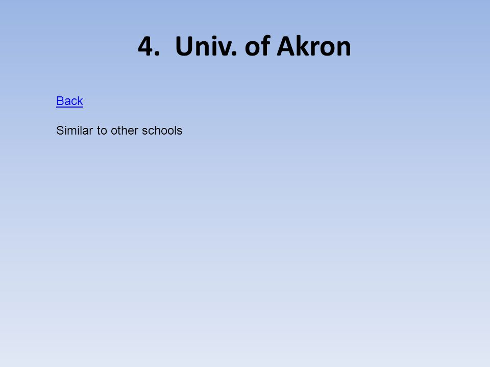 4. Univ. of Akron Back Similar to other schools