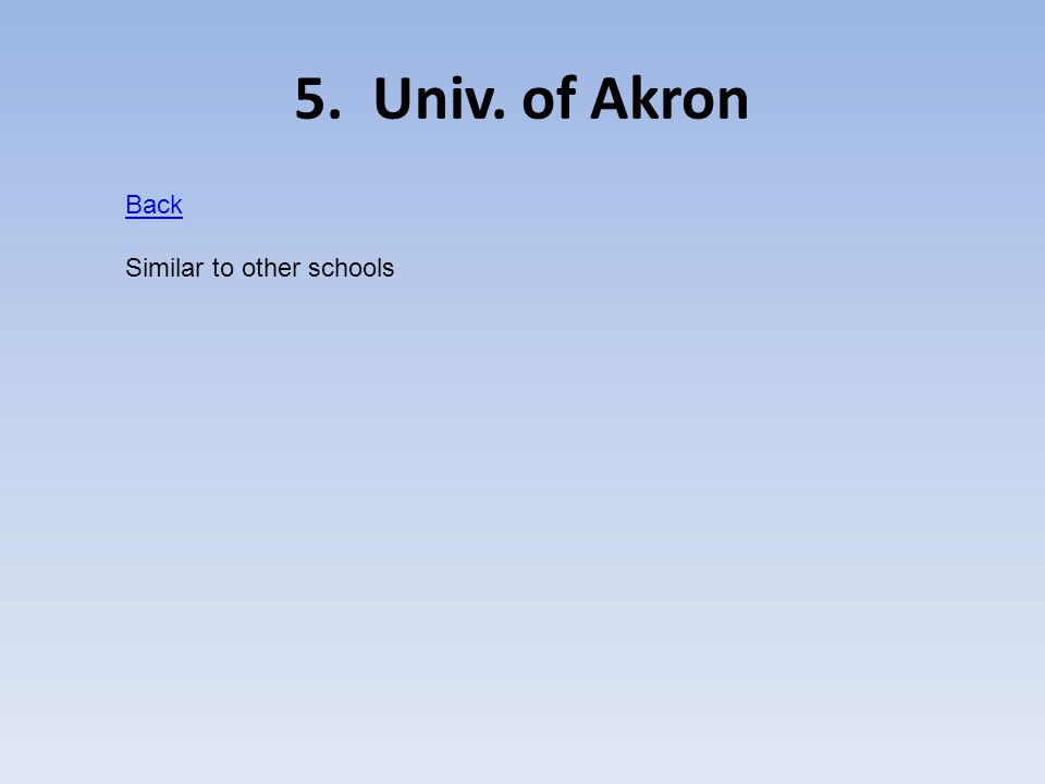 5. Univ. of Akron Back Similar to other schools