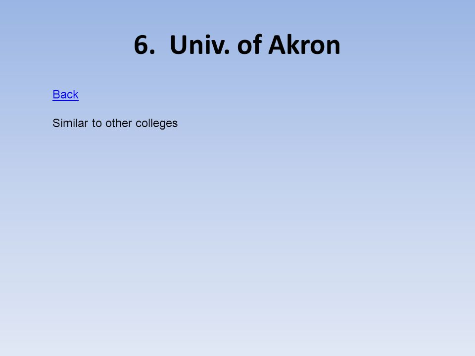 6. Univ. of Akron Back Similar to other colleges