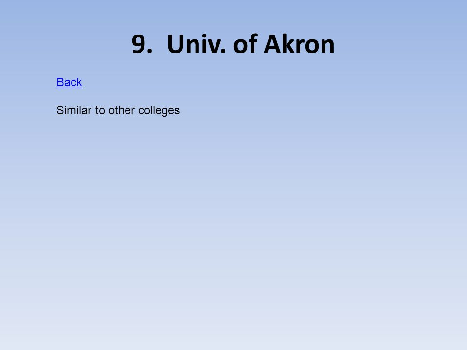 9. Univ. of Akron Back Similar to other colleges