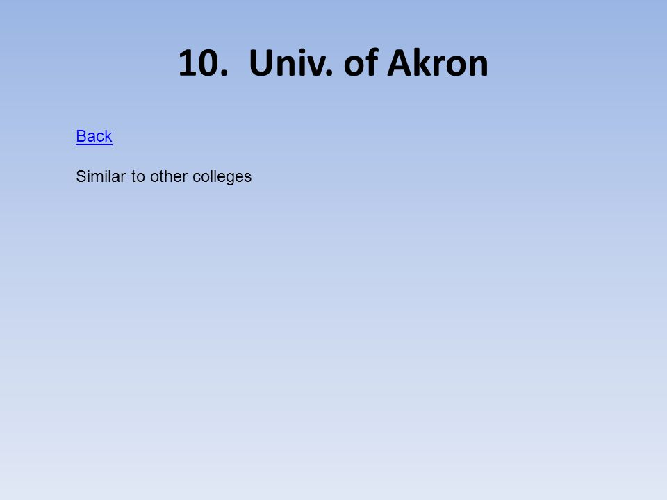 10. Univ. of Akron Back Similar to other colleges