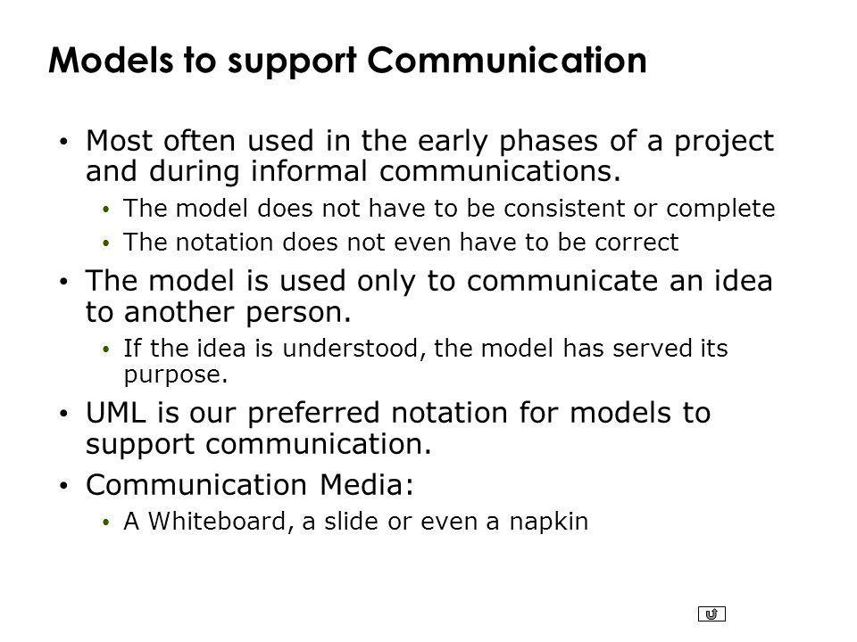 Models to support Communication Most often used in the early phases of a project and during informal communications.