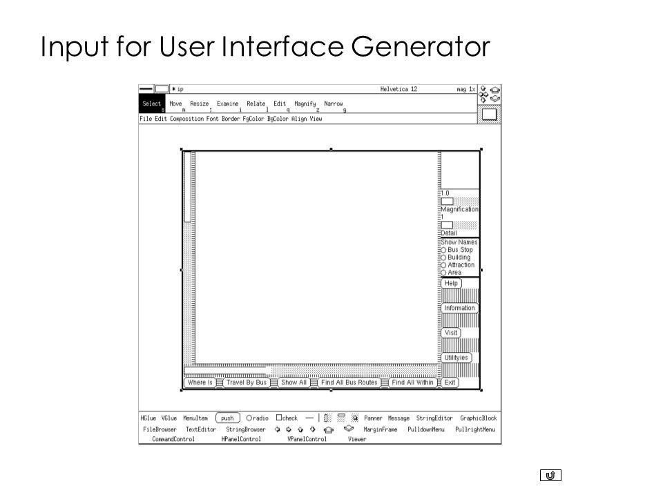 Input for User Interface Generator