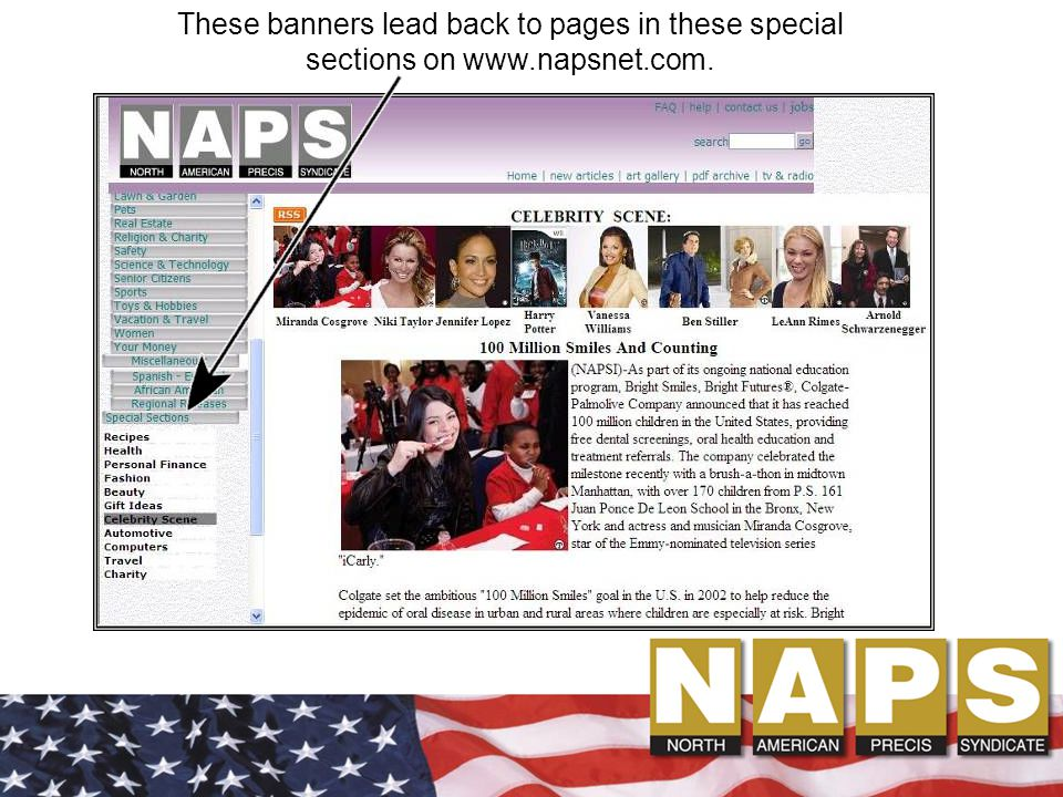 These banners lead back to pages in these special sections on www.napsnet.com.