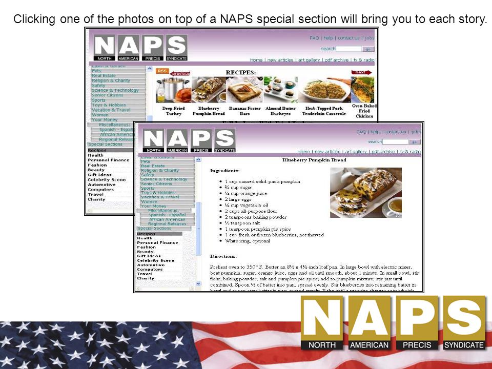 Clicking one of the photos on top of a NAPS special section will bring you to each story.