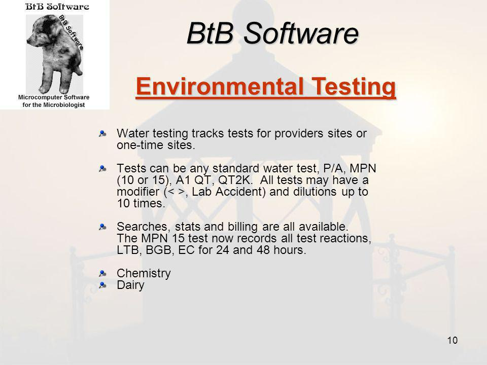 BtB Software Water testing tracks tests for providers sites or one-time sites.