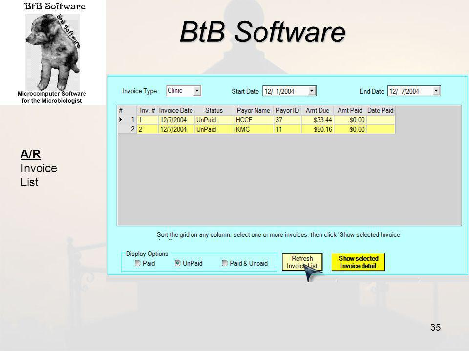 BtB Software A/R Invoice List 35