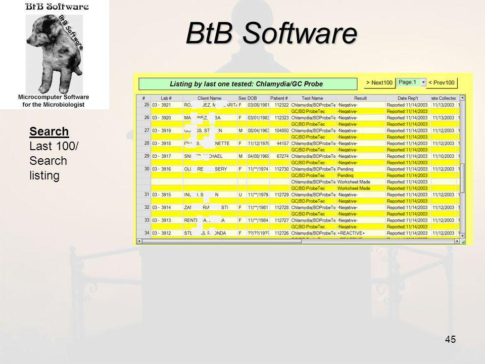 BtB Software Search Last 100/ Search listing 45