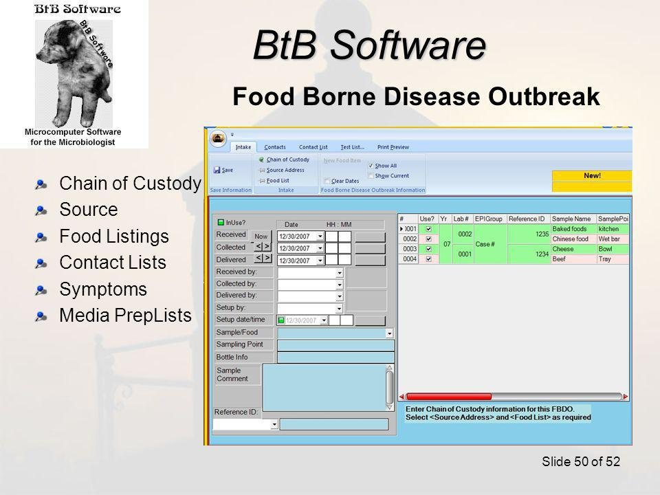 BtB Software Chain of Custody Source Food Listings Contact Lists Symptoms Media PrepLists Slide 50 of 52 Food Borne Disease Outbreak