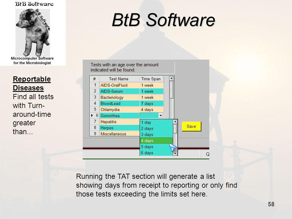 BtB Software Reportable Diseases Find all tests with Turn- around-time greater than...