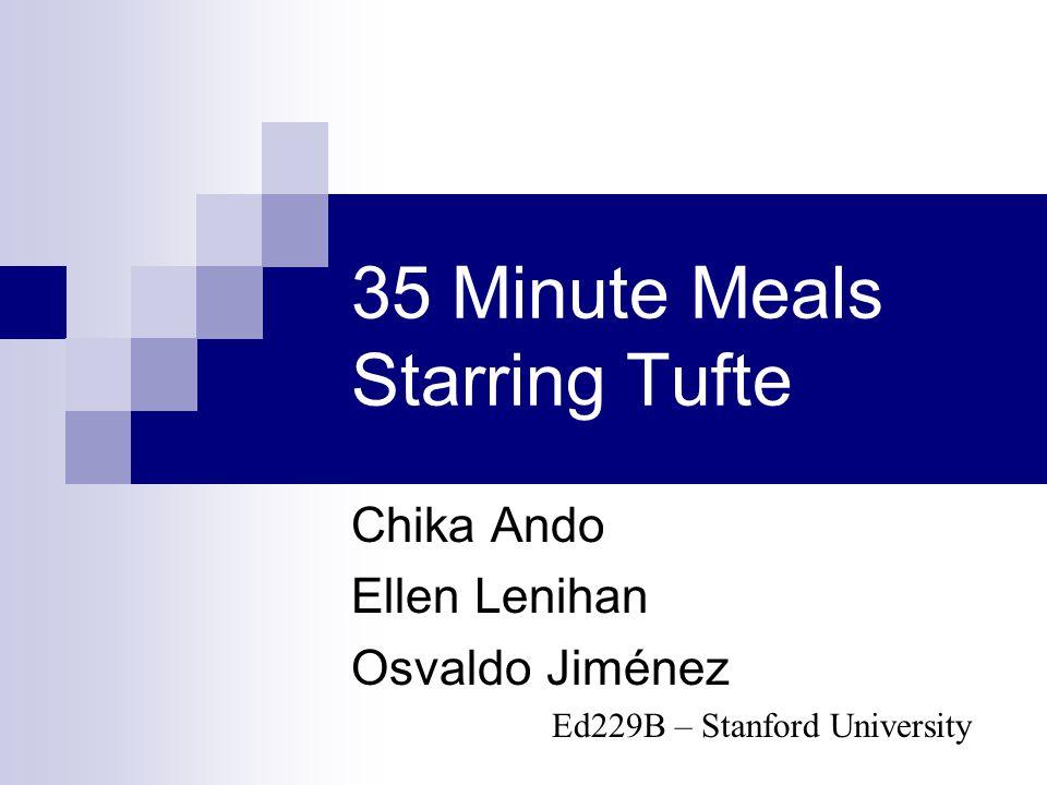 35 Minute Meals Starring Tufte Chika Ando Ellen Lenihan Osvaldo Jiménez Ed229B – Stanford University