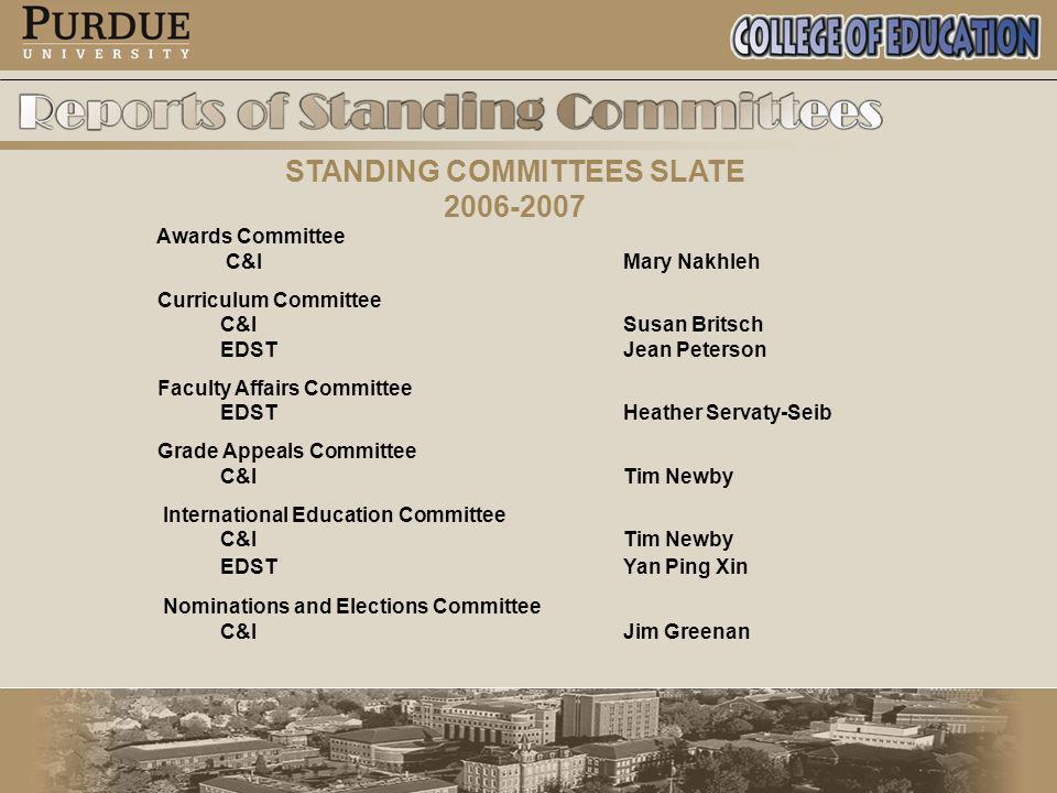 STANDING COMMITTEES SLATE 2006-2007 Awards Committee C&I Mary Nakhleh Curriculum Committee C&I Susan Britsch EDST Jean Peterson Faculty Affairs Committee EDSTHeather Servaty-Seib Grade Appeals Committee C&ITim Newby International Education Committee C&ITim Newby EDSTYan Ping Xin Nominations and Elections Committee C&IJim Greenan