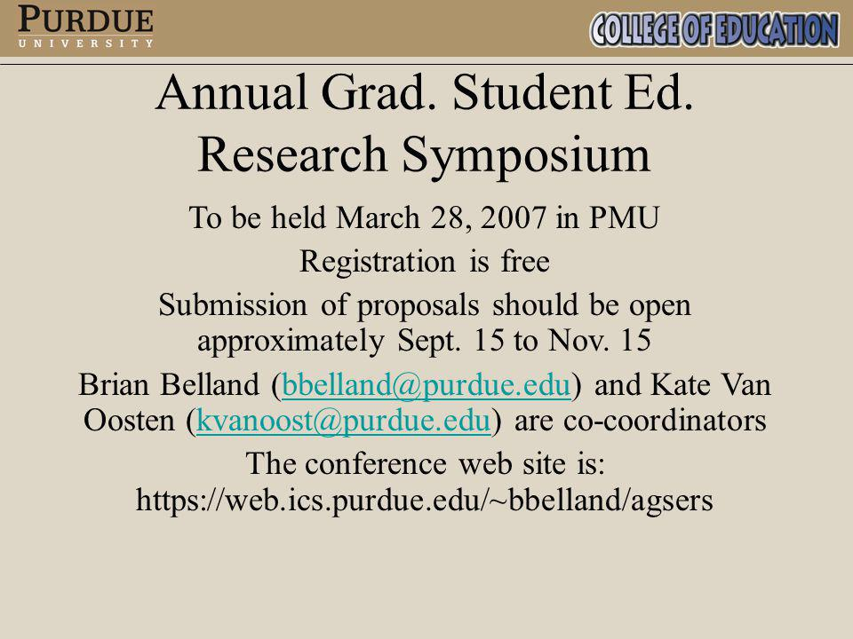 Annual Grad. Student Ed. Research Symposium To be held March 28, 2007 in PMU Registration is free Submission of proposals should be open approximately