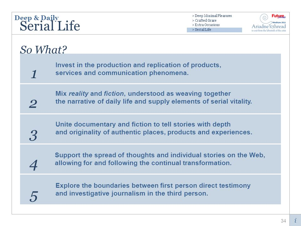 i Serial Life 34 Invest in the production and replication of products, services and communication phenomena.