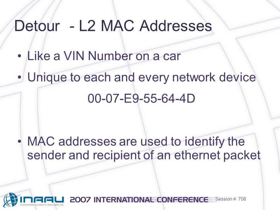Session #: 706 Detour - L2 MAC Addresses Like a VIN Number on a car Unique to each and every network device 00-07-E9-55-64-4D MAC addresses are used to identify the sender and recipient of an ethernet packet