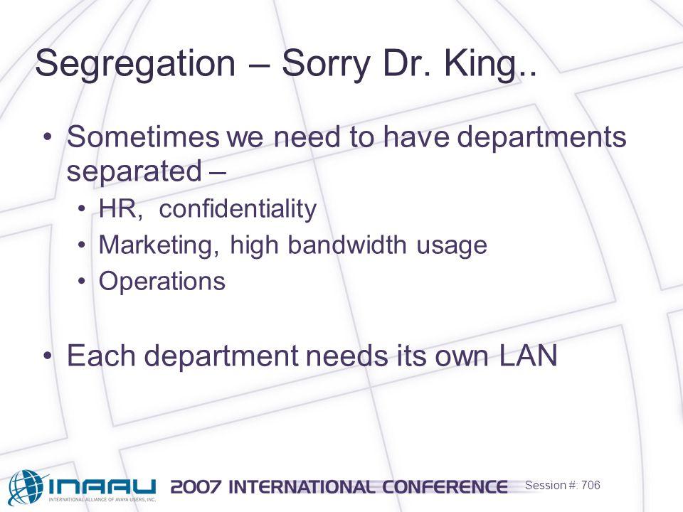 Session #: 706 Segregation – Sorry Dr. King..