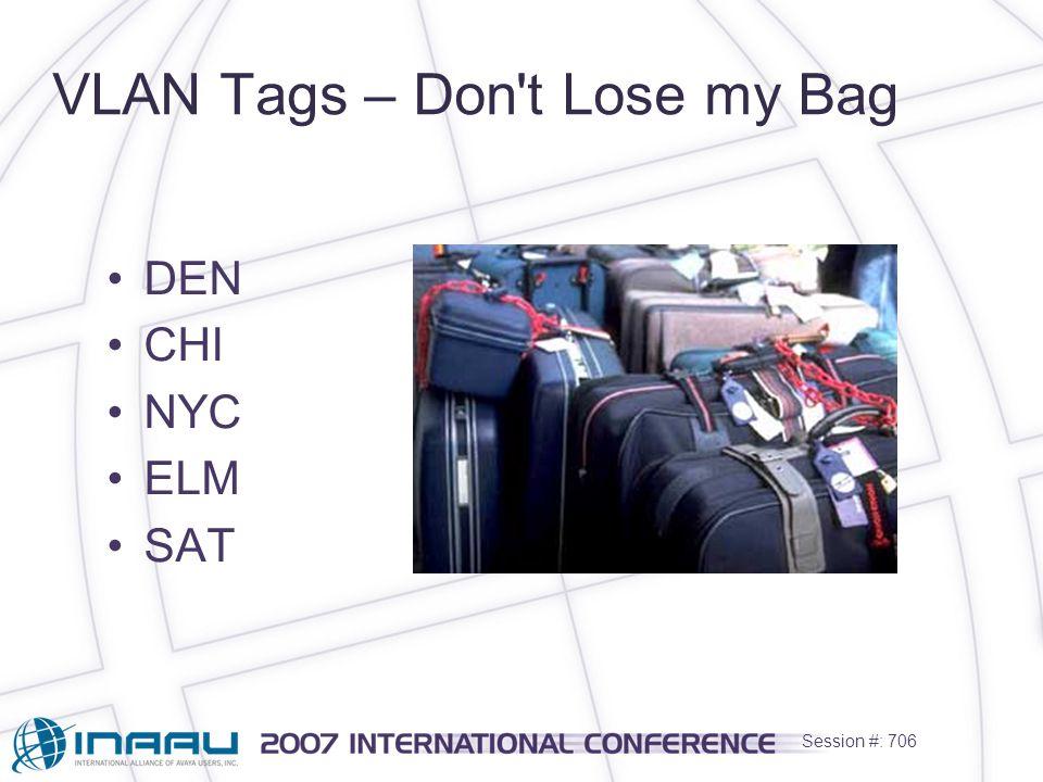 Session #: 706 VLAN Tags – Don t Lose my Bag DEN CHI NYC ELM SAT