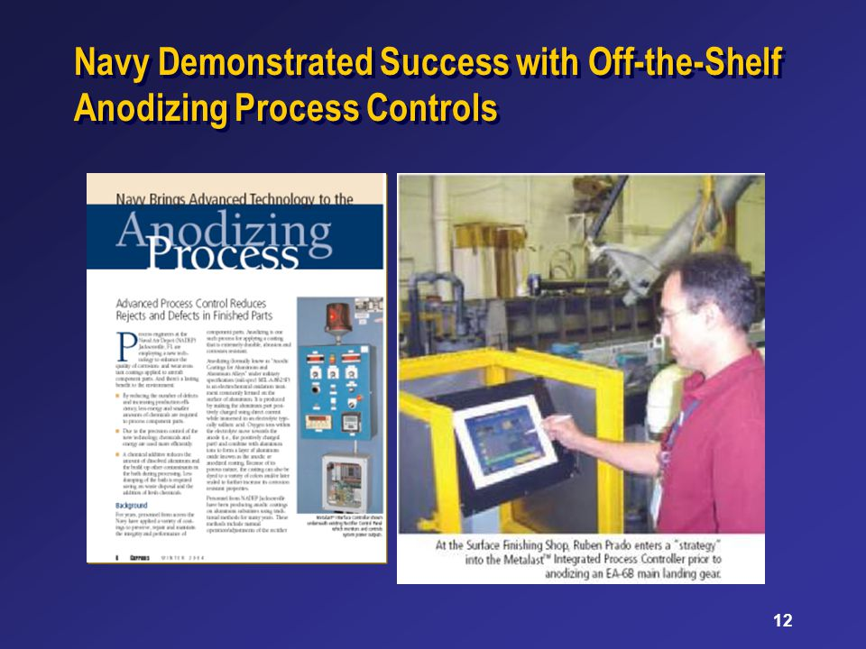 12 Navy Demonstrated Success with Off-the-Shelf Anodizing Process Controls